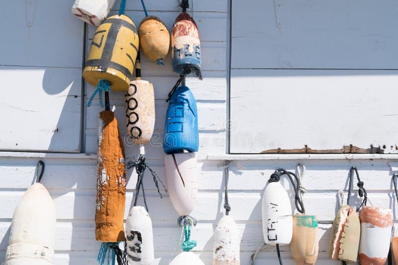 Balises pour la pêche ou le homard images libres de droits