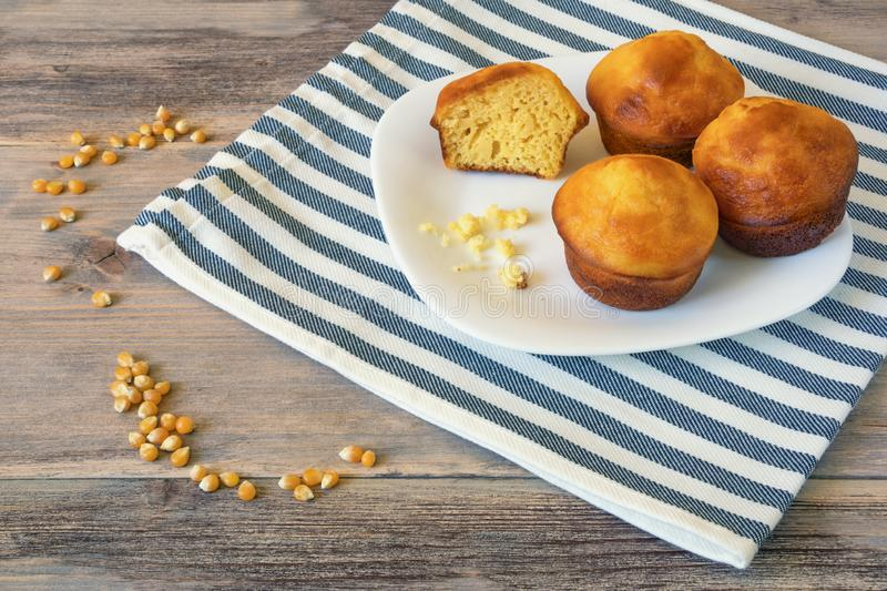 Balkan cuisine. Proja -  dish made of corn flour.  Cornbread, prepared as a muffin , on rustic background royalty free stock image