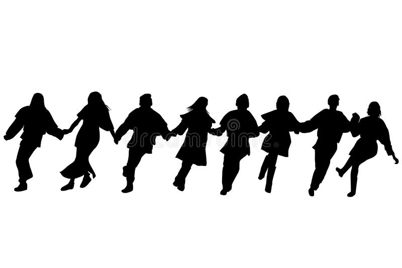 Balkan dancers silhouettes. Silhouettes of dancers performing a folklore dance stock illustration