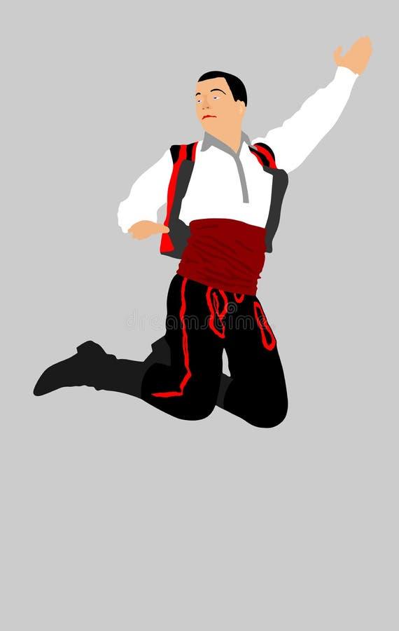 Balkan dansarevektor Folkdans i Europa Rysk folklorehändelsekonstnär i traditionell klänning royaltyfri illustrationer