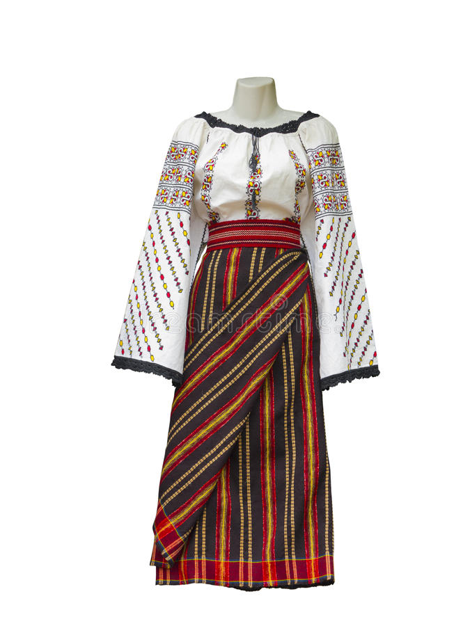 Balkan embroidered national traditional costume clothes isolated. Over white background stock photo