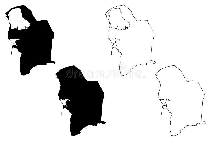 Balkan Region Republic of Turkmenistan, Districts of Turkmenistan map vector illustration, scribble sketch Balkan Province map.  vector illustration