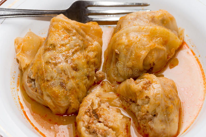 Balkan sarma meal served on the plate.  stock images