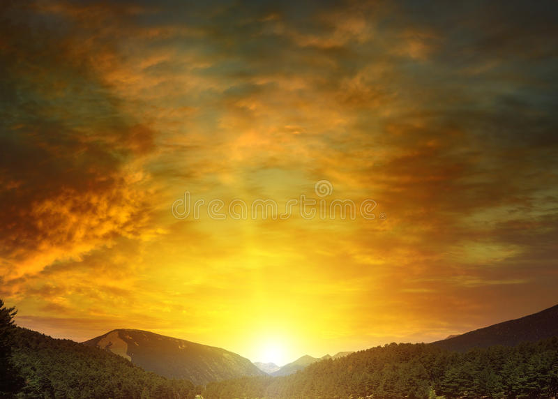 balkariya bezengi Caucasus gór kabardino piękny wschód słońca obraz royalty free