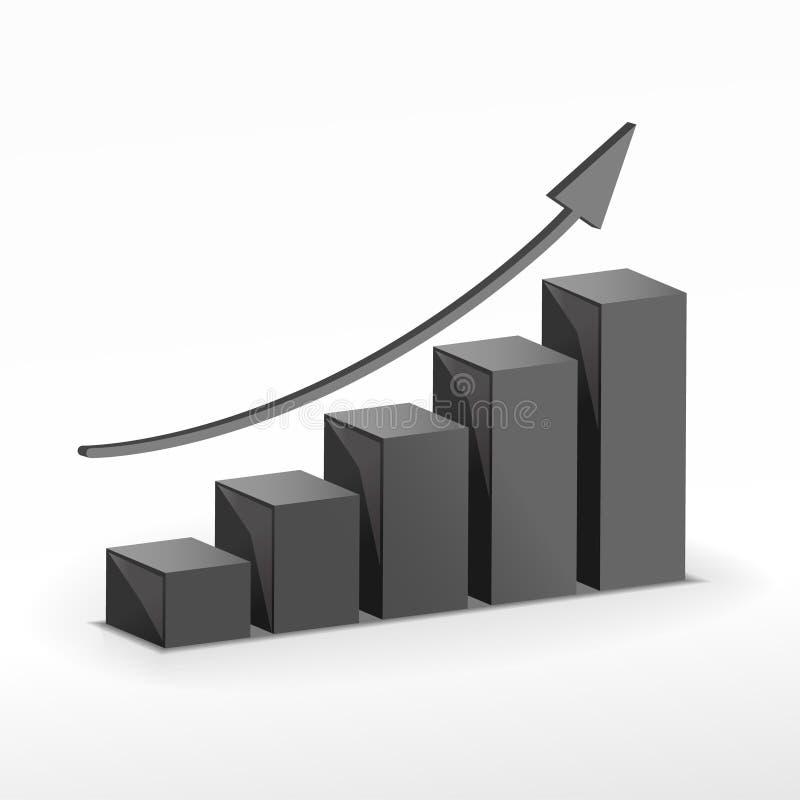Balkendiagramm des Wachstums 3D. Vektor lizenzfreie abbildung