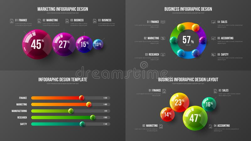 Balkendiagramm-Entwurf der erstaunlichen kommerziellen Daten horizontaler Infographic Elementsatz der bunten statistiken der Bäll lizenzfreie abbildung