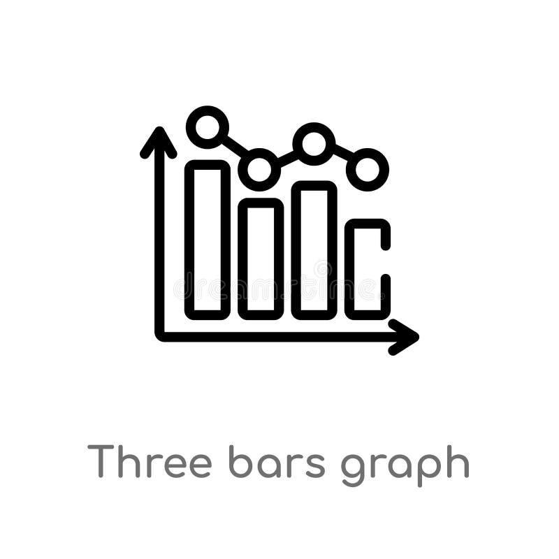 Balkendiagramm-Vektorikone des Entwurfs drei lokalisiertes schwarzes einfaches Linienelementillustration von entscheidendem glyph stock abbildung
