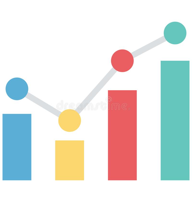 Balkendiagramm, Wachstumstabelle, lokalisierte Vektorikonen, die leicht geändert werden oder redigieren können stock abbildung