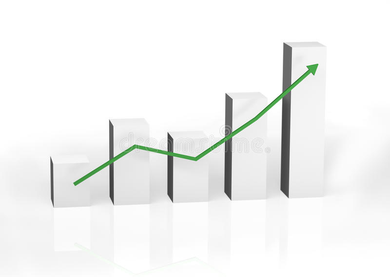 Balkendiagramm, welches die Mengenerhöhung zeigt stock abbildung
