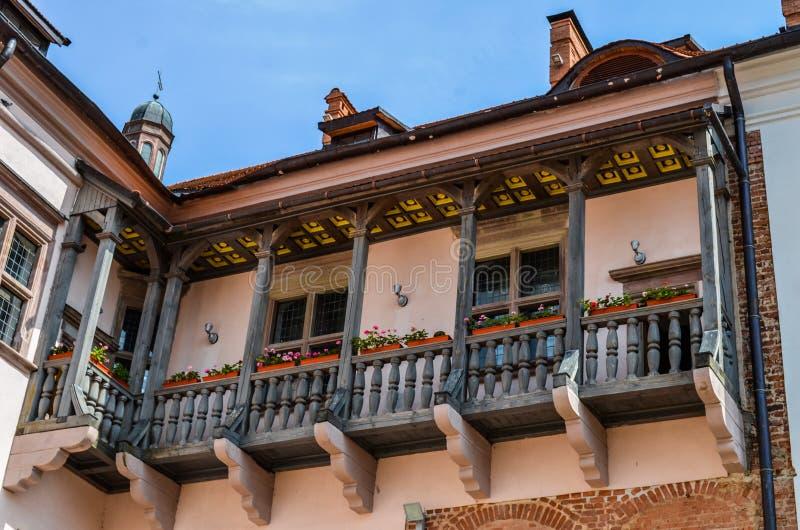 Balkon bij het kasteel stock foto