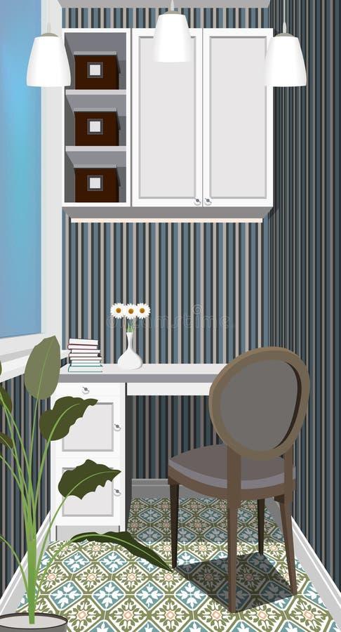 Balkon binnenlandse achtergrond met meubilair Ontwerp van modern balkon symboolmeubilair Balkonillustratie vector illustratie