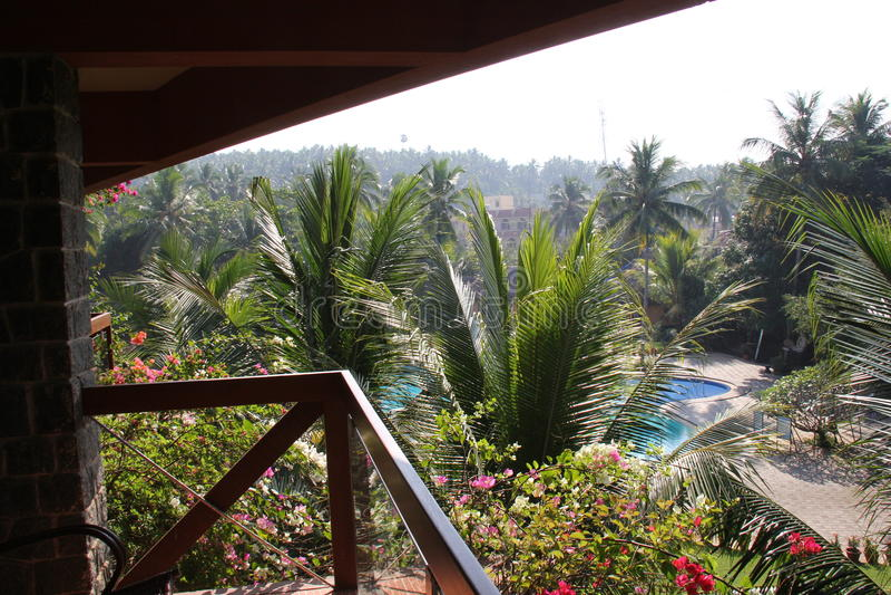Balkon mit Blick auf Swimmingpool im Garten stockfotografie