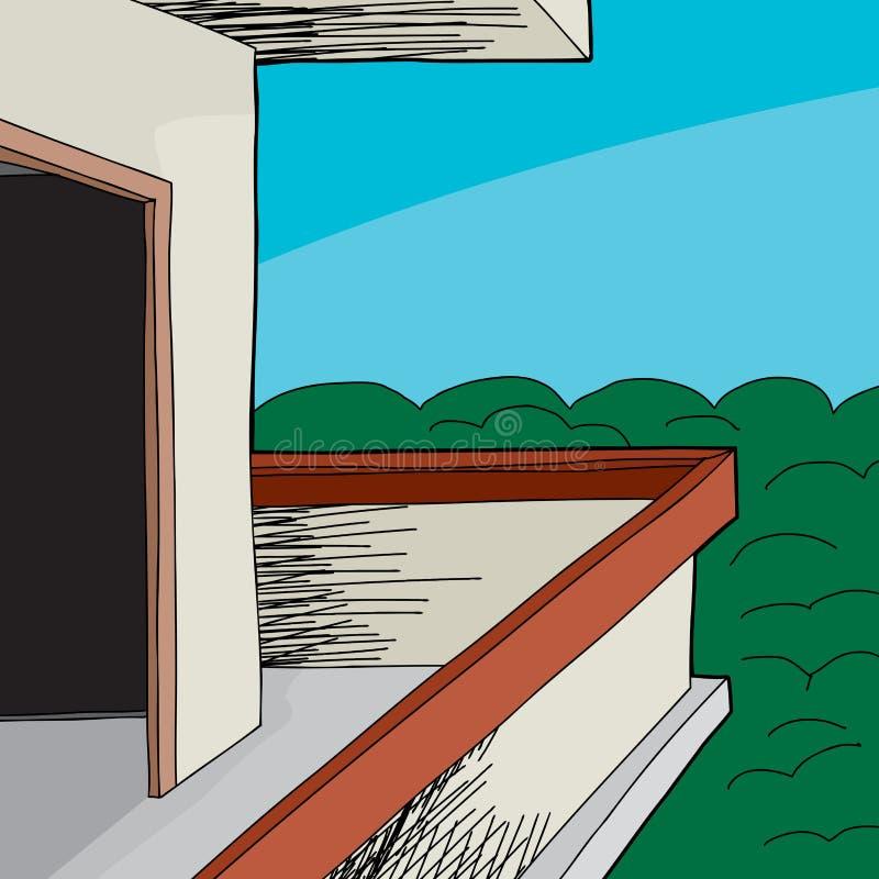 Balkon nahe Holz lizenzfreie abbildung