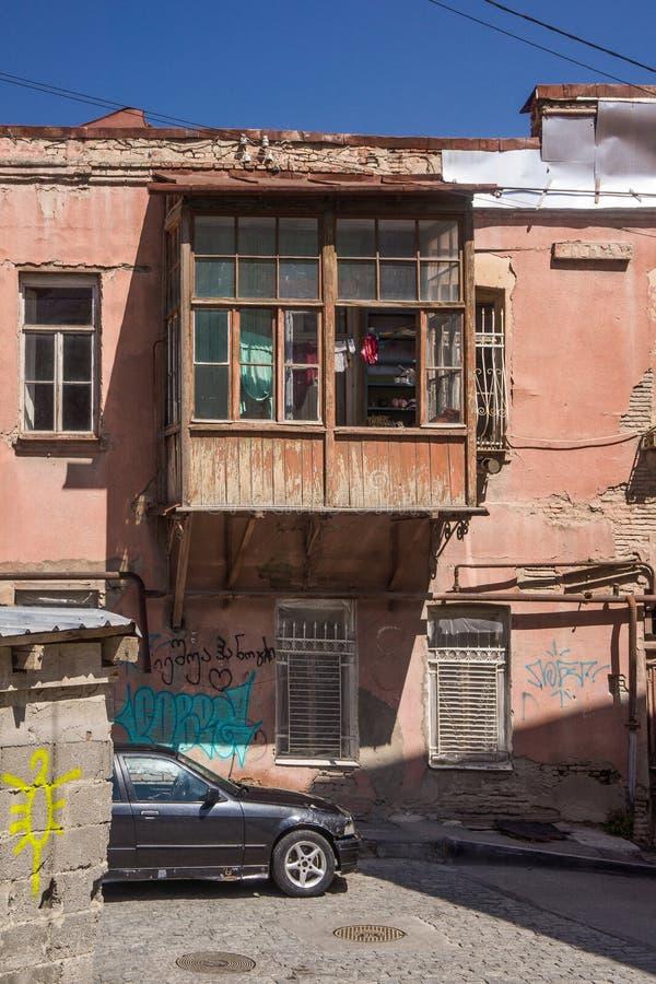 Balkon stary tiflis dom obrazy stock