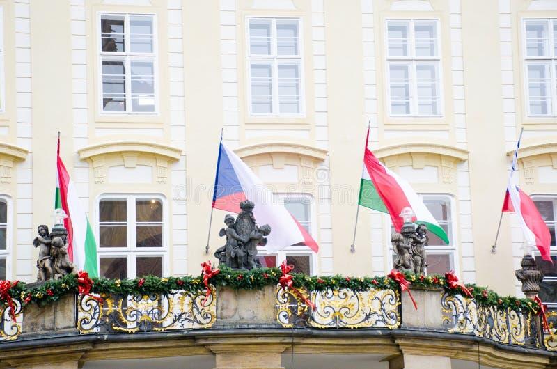 Balkon van Presedential-Paleis Praag royalty-vrije stock afbeeldingen