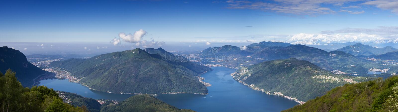Balkon von Italien - Panorama von See Lugano stockfotos