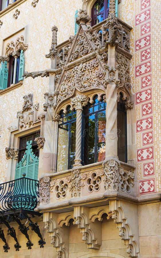 Balkon w Casa Amatller w Eixample okręgu Barcelona zdjęcia stock