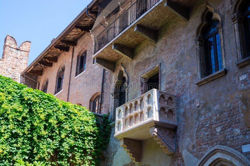 Balkon w domu Julii w Weronie, Włochy fotografia stock
