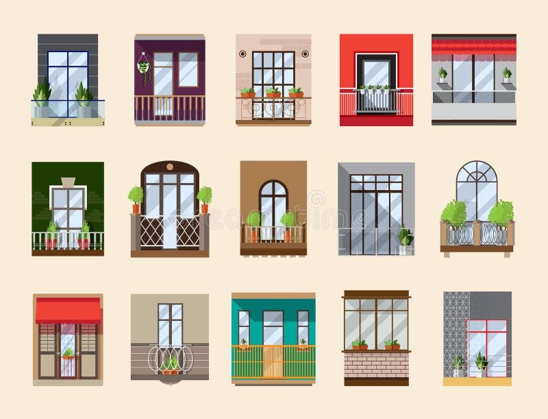 Balkone eingestellt Sammlung mit Gebäudefassadenelementen in der Weinlese und in der modernen Art Flache Illustration des Vektors lizenzfreie abbildung