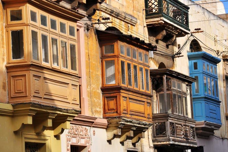 Balkone von Valletta, Malta lizenzfreie stockfotografie