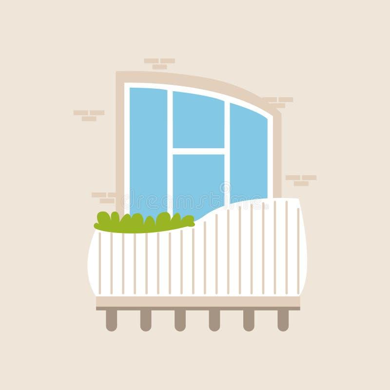 Balkong av ett modernt hus med växtvektorillustrationen royaltyfri illustrationer