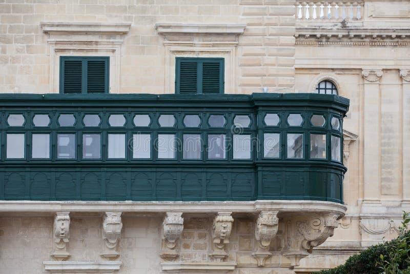 Balkong av grandmaster'sens slott Valletta arkivfoto