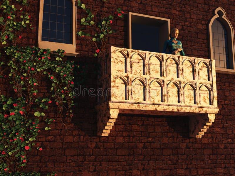 balkong henne juliet royaltyfri illustrationer