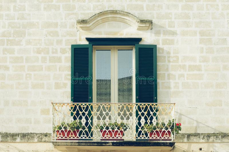 Balkong i Matera arkivfoton