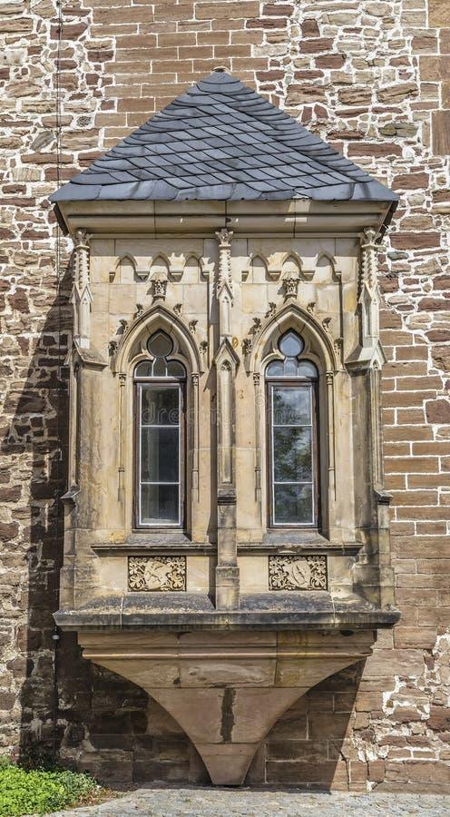 Balkong i slotten Wernigerode royaltyfri fotografi