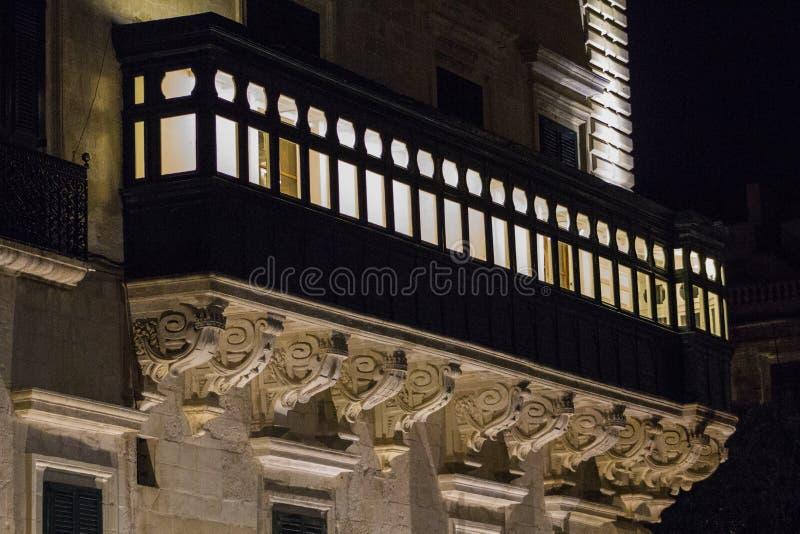 Balkong i Valletta fotografering för bildbyråer