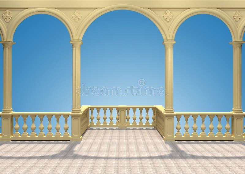 Balkong med balustraden, kolonner, bågar och tolkningen för stuckatur 3D arkivfoton