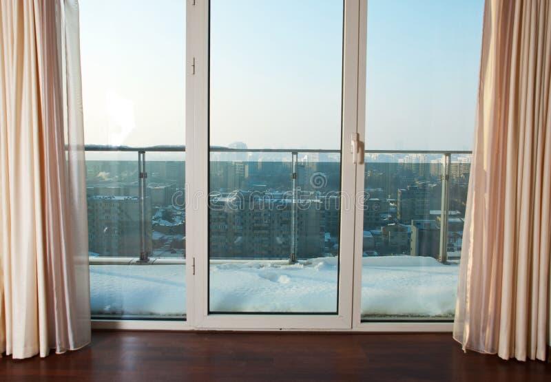 balkong till fönster royaltyfri bild