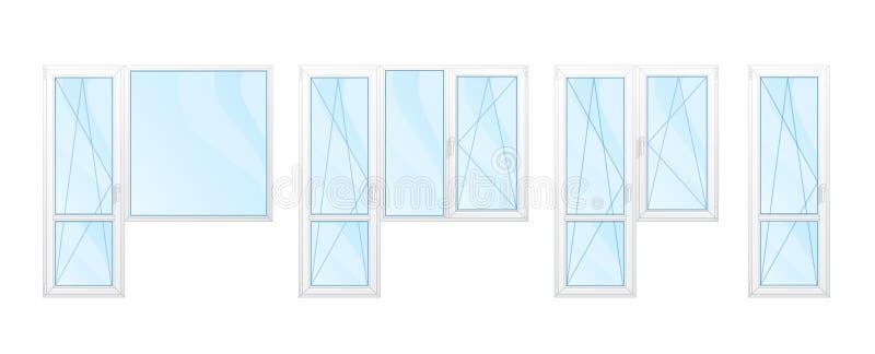 Balkong Windows med den isolerade vitramar och blåa exponeringsglasuppsättningen fotografering för bildbyråer