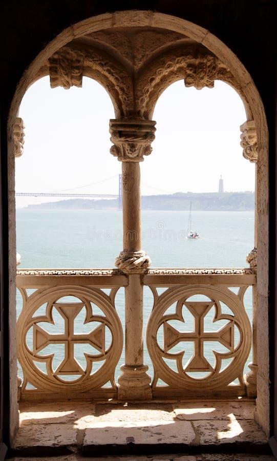 balkongbelem torn royaltyfria bilder