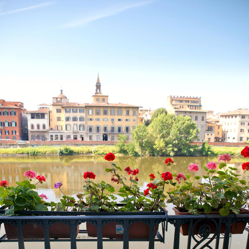 balkongen blommar italienare royaltyfria foton