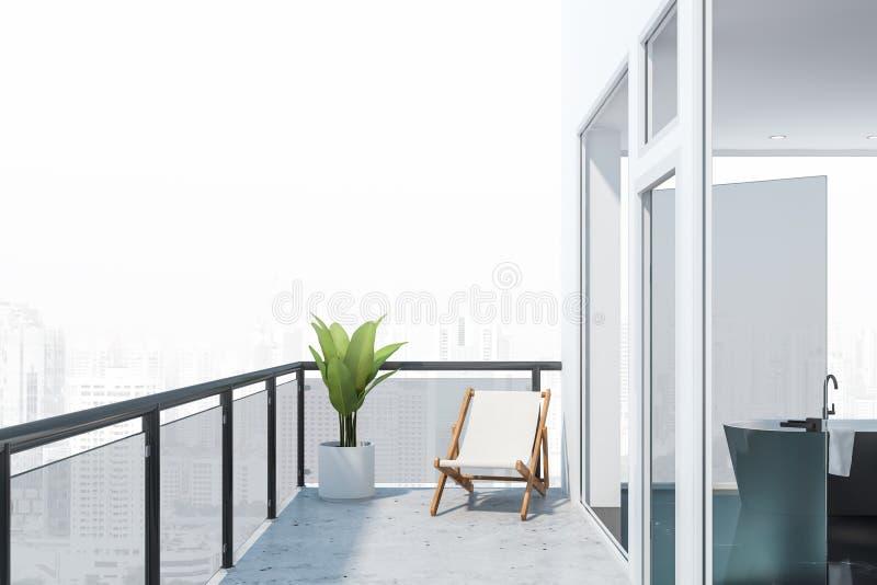 Balkongen med stadssikt och svart marmorerar badrummet stock illustrationer