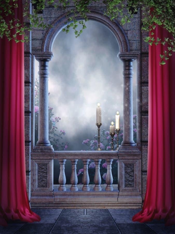 balkongen undersöker tappning royaltyfri illustrationer