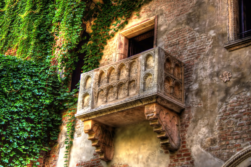 balkongjuliets verona royaltyfri foto
