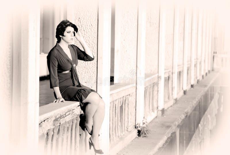 balkonowa kobieta fotografia stock