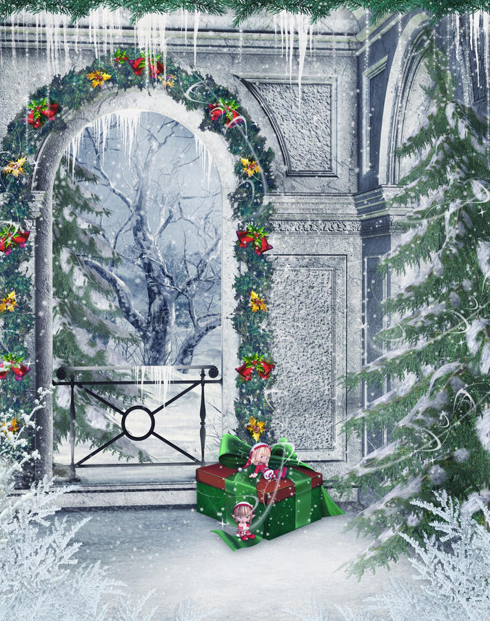 balkonowa zima ilustracja wektor