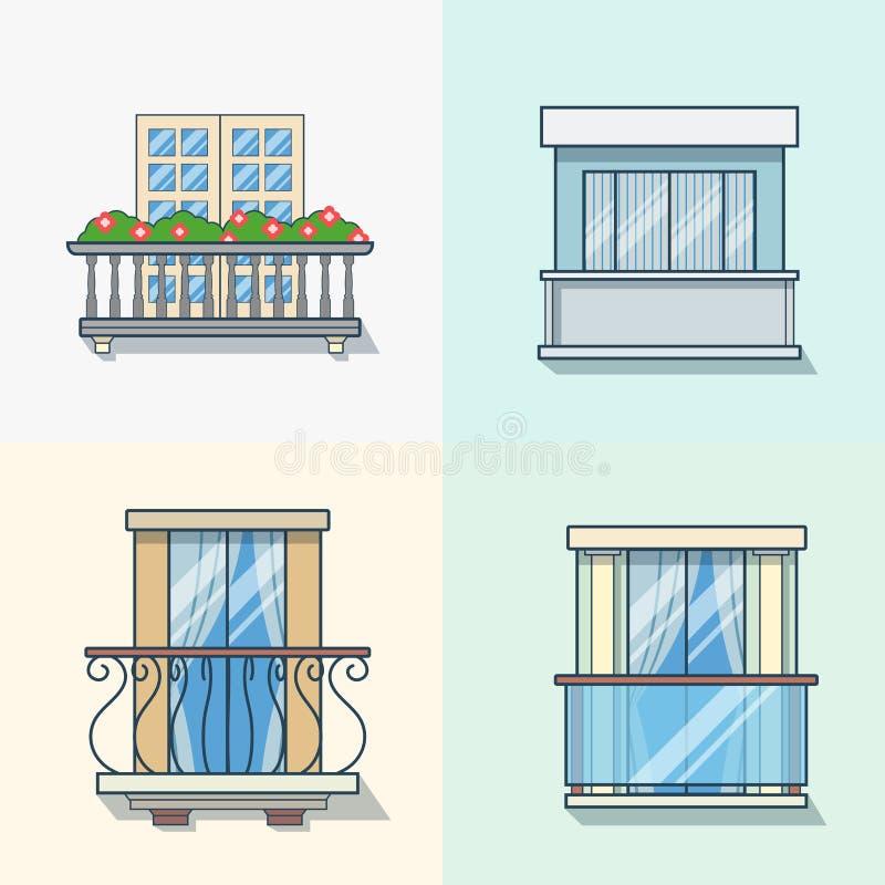 Balkonowy liniowy kontur architektury budynku eleme ilustracja wektor