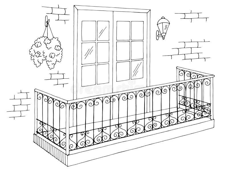 Balkonowy zewnętrzny graficzny czarny biały nakreślenie ilustracji wektor ilustracji