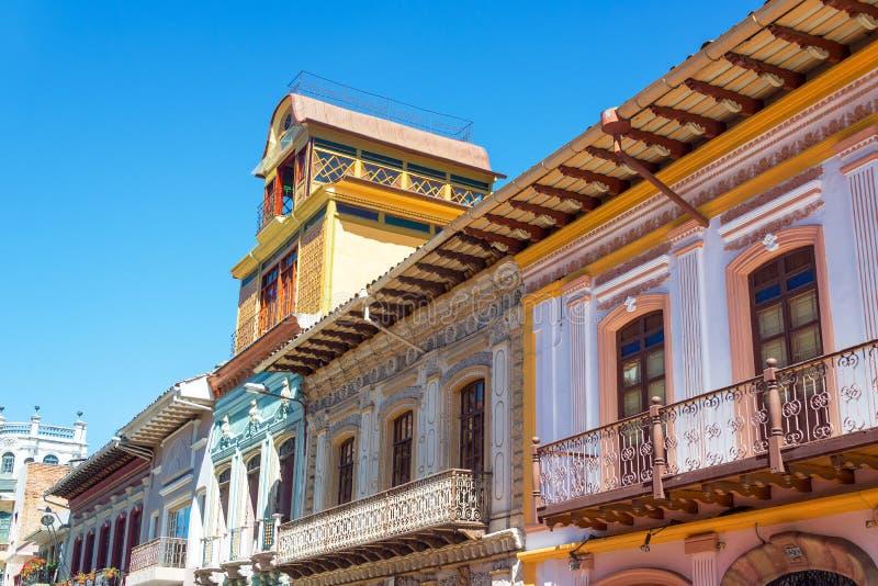 Balkons in Cuenca, Ecuador royalty-vrije stock afbeelding