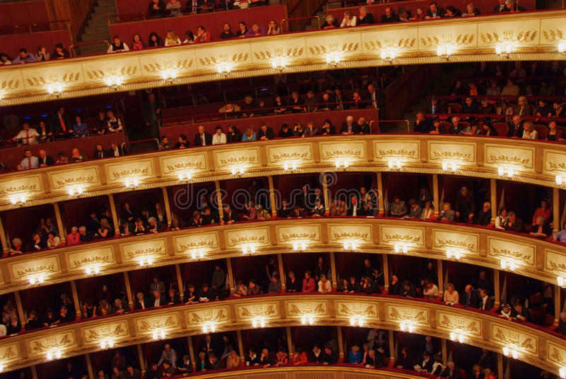 Balkons van het Huis van de Opera van Wenen stock fotografie