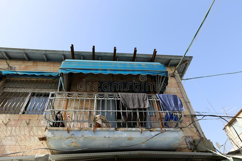 Balkony i okno w mieście Jerozolima obrazy royalty free