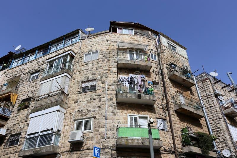 Balkony i okno w mieście Jerozolima zdjęcie stock