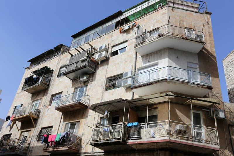 Balkony i okno w mieście Jerozolima fotografia stock