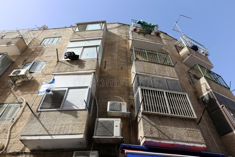 Balkony i okno w mieście Jerozolima fotografia royalty free