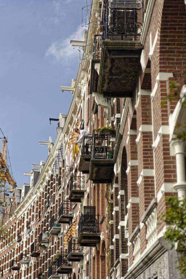 Balkony na budynkach, Amsterdam, Holandia zdjęcie stock