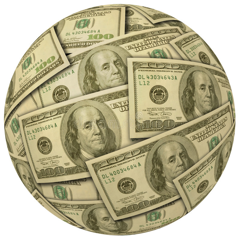 Ball of $100 bills. Ball or sphere of $100 bills royalty free stock photography